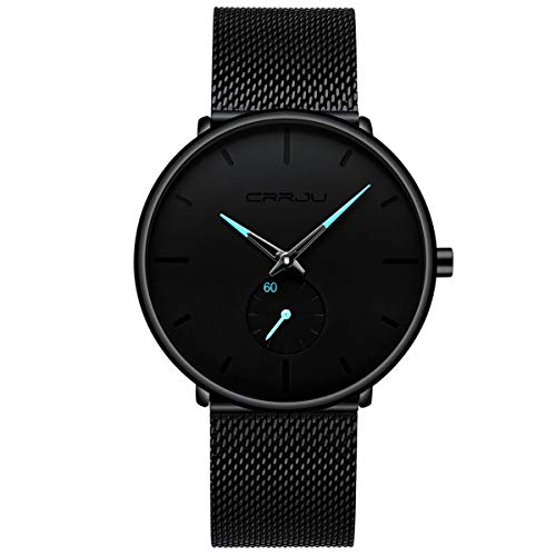 Mens Watches Ultra-thin Minimalist Waterproof-Fashion Wrist Watch for Men Unisex Dress with Stainless Steel Mesh Band-Blue Hands