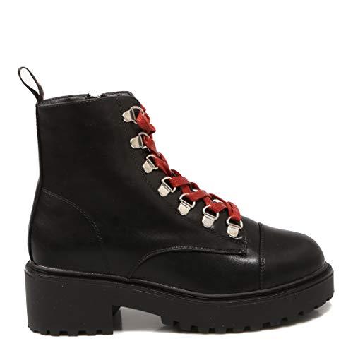 Coolway, COO TESA, Botas Negras con cordón Rojo para Mujer, 37