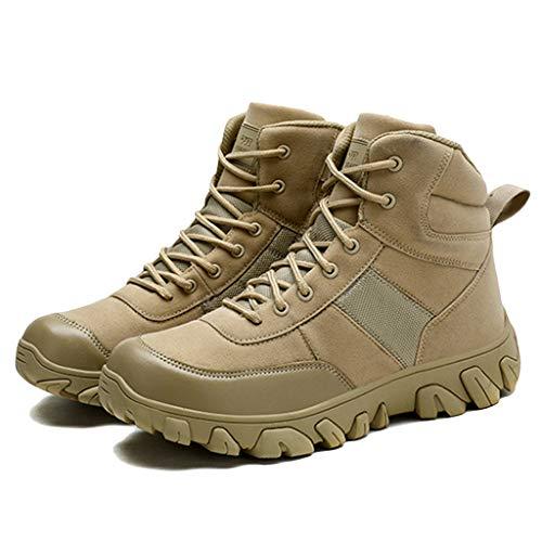 Wygwlg Bottes Militaires de Combat pour Hommes Bottes des Forces spéciales Bottes de Combat Respirantes de la Jungle Bottes de randonnée durables de Faible Hauteur,Sand color-44