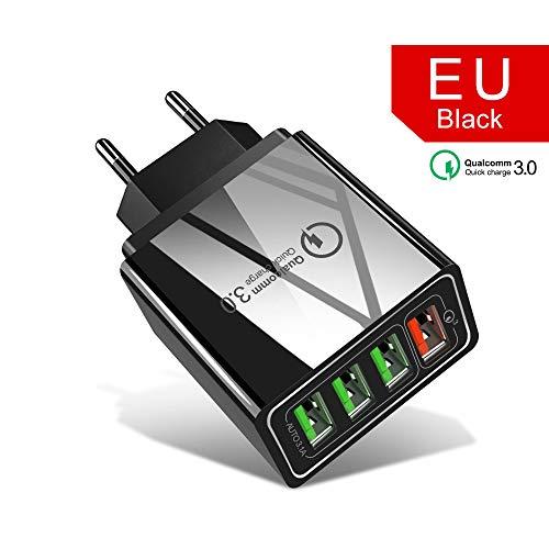 YHML 4-Port USB Ladegerät, Europäischer Standard Britisches Und Amerikanisches Handy Ladegerät QC3.0 Ladegerät/Reiseladegerät Schnellladung Für Samsung S8 S7, Millet, LG, HTC,A
