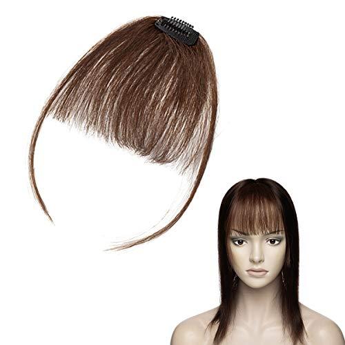 Elailite Frange Légère a Clip Cheveux Naturel - Volume Extension Vrai Cheveux Humain Postiche Bangs Fringe - #4 CHATAIN