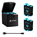 Artman Hero 9 Replacement Batteries 2-Pack(1800mAhx2) and 3-Channel USB Storage Quick Charger Compatible with Gopro Hero 9 Black