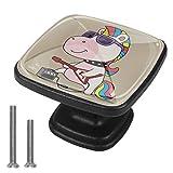 Cuadrado Tiradores de cristal para cajones Unicornio de roca Pomo para cajón, pomo negro para armario de cocina armario de baño, Mueble pomo para puerta (juego de 4) 3x2.1x2 cm