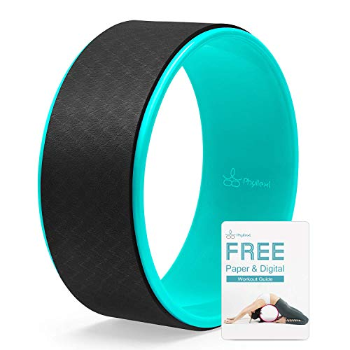 PHYLLEXI Yoga Wheel for Stretching - Pro Grade Large Dharma Yoga Roller Wheel for Back Pain Relief and Improving Backbends, Strong & Comfortable, 12.6 x 5 Inch Black, Workout Guide Included