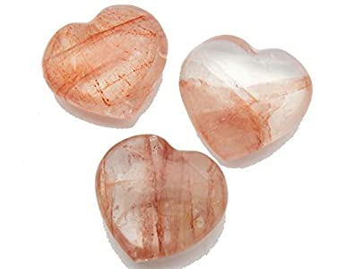 "Fundamental Rockhound Products: One (1) 35mm (1 3/8"") Red Fire Quartz (Hematoid) Pocket Heart Gemstone Crystal with Carrying Pouch, info Card, Stone Certification, Tumbled Stone"