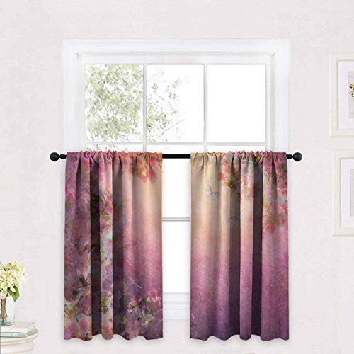 ScottDecor Art Kitchen Curtains Enchanted Cherry Blossom Petals Field Shabby Chic Floral Garden Spring Picture 30 x 63 inch Kitchen Window Treatment Curtains