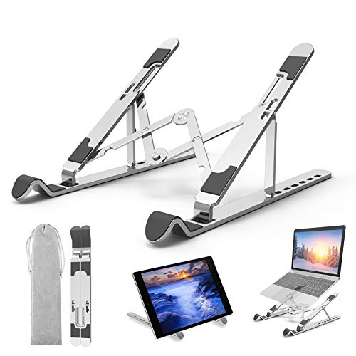 veerkey Laptop Stand, Portable Aluminum Laptop Riser Laptop Holder for Desk,7 Angles Aluminum Ventilated Computer Stand for Mac MacBook Pro Air, Lenovo, HP, Dell,iPad