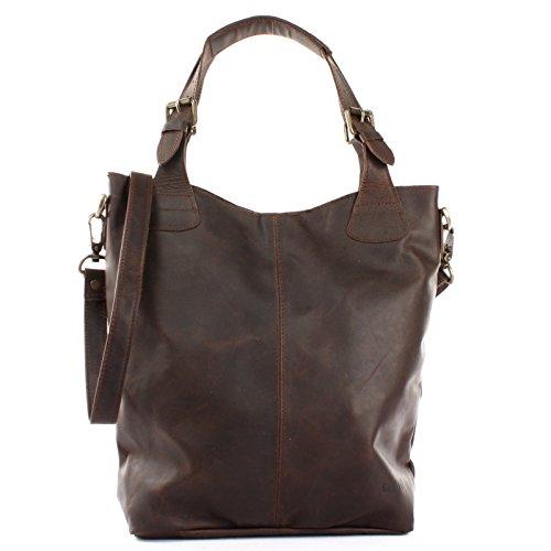 LECONI Henkeltasche Echtleder Vintage-Look Damentasche für Shopping Handtasche für Damen Leder Shopper mit Trageriemen Beuteltasche für die Arbeit, Büro oder Alltag 34x35x10cm dunkelbraun LE0054-wax
