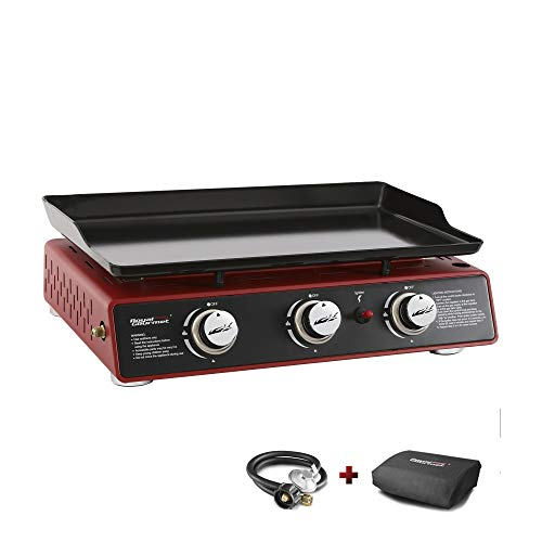Royal Gourmet PD1301R 24-Inch 3-Burner Portable Table Top Gas Grill Griddle, 25,500 BTUs, Red
