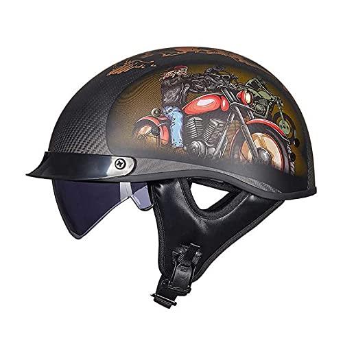 EBAYIN Cascos Half-Helmet Cascos Abiertos Brain - Cap Casco Jet Media Cara Casco Motocicleta Harley Retro Dot/ECE Cruiser Helicóptero Chopper Pilot Casco Scooter Casco Colisión,K-XL=(61~62cm)