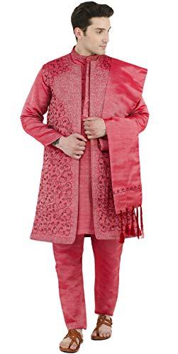 SKAVIJ Seda Lujoso Kurta Pijama Chaqueta Bufanda (Camisa Larga y Pantalón) para Hombre Rojo M