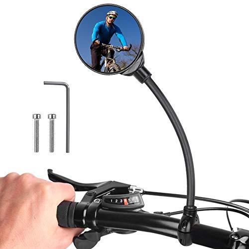Gobesty Fahrradrückspiegel, 360 ° Drehbar und Verstellbar Rückspiegel Fahrrad, Universeller Konvexer Acrylspiegel Fahrradspiegel für Mountainbike Rennrad/Motorrad/E-Bike/Mofa/Rollstuhl (1 Stück)