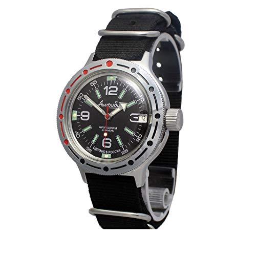 Vostok Amphibian 420640 Reloj de Pulsera para buceadores Militares rusos genuinos con Cuerda automática