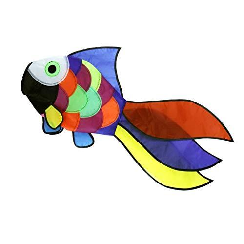 Unbekannt Windsocke mit Fischdrachenschwanz, Regenbogen-Windmühle, lustige Aktivitäten, Spielzeug, Garten, Park, Dekoration, AOD