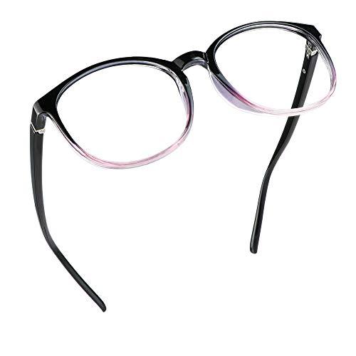 LifeArt Blaue Licht Blockieren Brille, Anti-Augen-Müdigkeit, Computer Lesebrillen, TV Brille für Frauen Männer (Schwarz lila, Nein Vergrößerung)