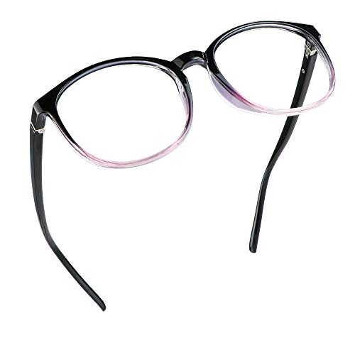 LifeArt Blaue Licht Blockieren Brille, Anti-Augen-Müdigkeit, Computer Lesebrillen, TV Brille für Frauen Männer (Schwarz lila, 1.75 Vergrößerung)