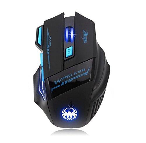 AFUNTA Zelotes Wireless Gaming Mouse-Mäuse, die mit 7 Taste Einstellbare DPI 600/1000/1600/2400 LED für Gamer Mac PC Computer