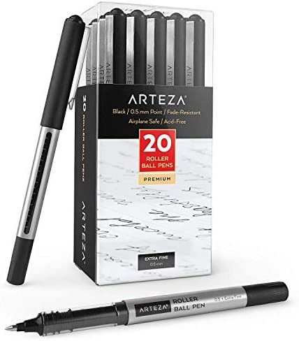 Arteza Rollerball Pens Pack of 20 0 5mm Black Liquid Ink Pens for Bullet Journaling Fine Point product image