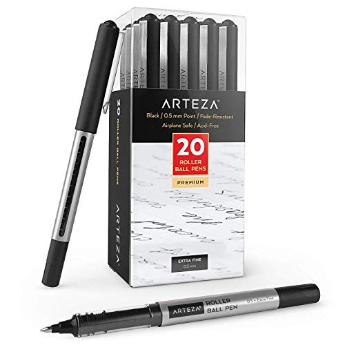 Arteza Rollerball Pens, Pack of 20, 0.5mm Black Liquid Ink Pens for Bullet Journaling, Fine Point Rollerball for Writing, Taking Notes & Sketching