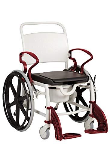 FabaCare Dusch- Toilettenrollstuhl Genf, 24 Zoll Räder, bis 130 kg, made in Germany, Premium Toilettenstuhl, Duschstuhl fahrbar, Rollstuhl mit WC Eimer, Grau-Rubinrot