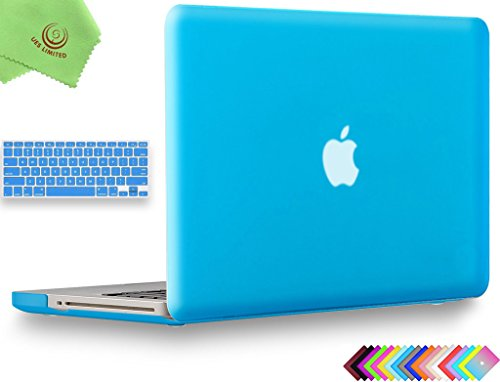UESWILL 2in1 Smooth Soft Touch Matte Hard Shell Case with Silicone Keyboard Cover for MacBook Pro 13 inch with CD-ROM (Non-Retina) (Model A1278) + Microfibre Cleaning Cloth, Aqua Blue