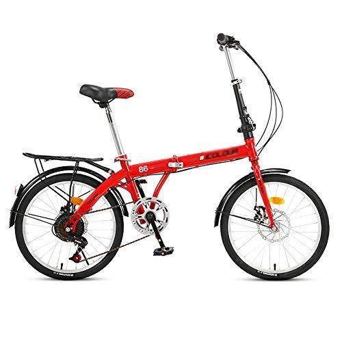 Bicicleta, Bicicleta de CercaníAs PortáTil de 20 Pulgadas, Bicicleta Plegable de Ocio de la Ciudad, Marco de Bajo Alcance, Ajustable de 7 Velocidades, Tanto para Hombres Como para Mujeres /