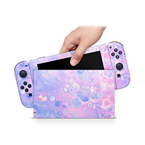46 North Design Switch Skin für Konsole und JoyCons, gleiche Abziehbildqualität für Autos, Bubble Beam Pastell Pink Blue Cute Kawaii, hohe Qualität, langlebig, blasenfrei, hergestellt in Kanada