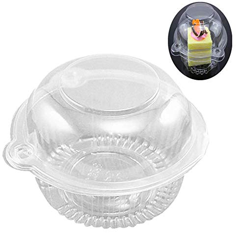 Hewnda 50 pieces Plastic Single Individual Cupcake Muffin Dome Holders Cases Boxes Cups Pods
