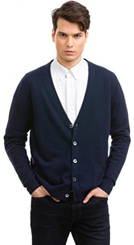 Citizen Cashmere V Neck Cardigan Sweaters for Men - 100% Cashmere (L, Navy) 42 133-03-03