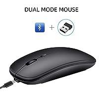 M90デュアルモードワイヤレスマウスBluetooth 5.0 + 2.4Ghzワイヤレスマウスデスクトップ、ブラック
