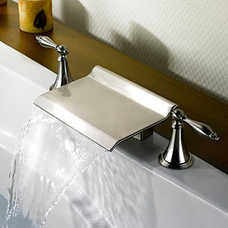 Bathtub Faucet - Contemporary Nickel Brushed Roman Tub Ceramic Valve Brass   Two Handles Three Holes