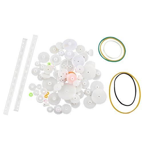 HALJIA 75 Stück von Kunststoff Getriebe Zahnrad Schneckengetriebe Zahnstange Set Plastic Gears Toy für DIY Modelle / Roboter / Getriebe