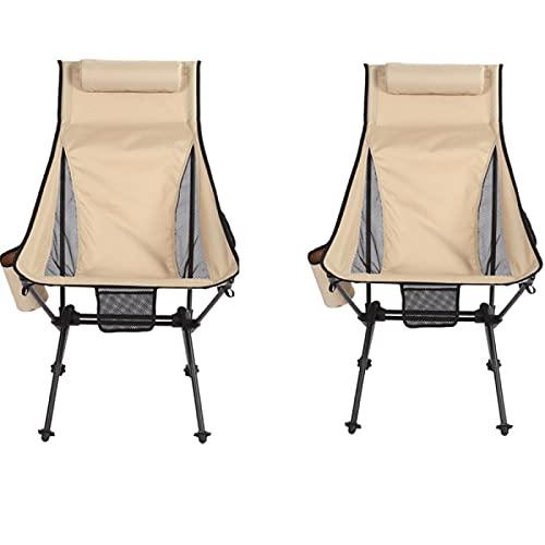 QAZW Silla de Camping, Paquete de 2 Sillas de Camping Plegables y Ligeras Portátiles para Mochileros/Senderismo/Picnic/Pesca/Playa/Jardín,Beige