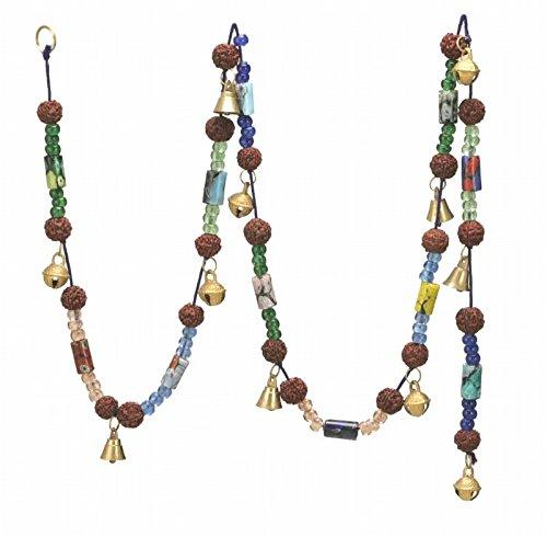 Superbe carillon avec 11 cloches en laiton poli de 1,9 cm de haut avec perles colorées sur une chaîne de 152,4 cm de long.