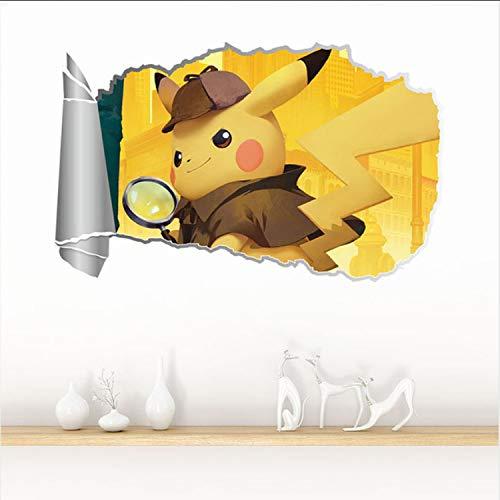 Anzeigen Detektiv Pikachu Film Wandaufkleber 3D Für Kinderzimmer Wohnkultur Wohnzimmer PVC Dekoration Zubehör Wandbild Wandtattoos