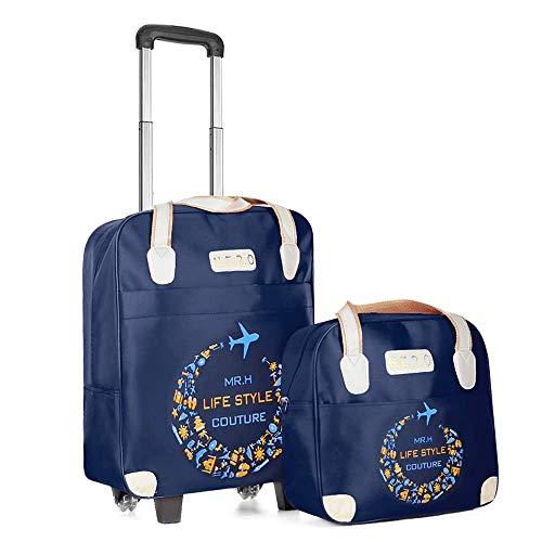 Vinteen Light Trolley Bag Kit Hombres y Mujeres Bolsa de Viaje Short-Distance Tourism Embarque Impermeable Bolsa de Equipaje Bolsa de Viaje Maletas (Color : Blue)