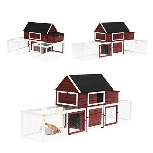 PawHut 114' Chicken Coop Wooden Large Hen House Rabbit Hutch...