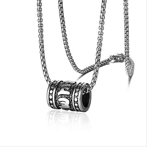 LBBYMX Co.,ltd Collar de Seis Caracteres Mantra Colgante, Collar, Oro, Plata, Color, Hombres, niño, Budista, Amuleto, Cuentas, Suerte, Macho, joyería, Regal, Acero Inoxidable, Colgante, Collar