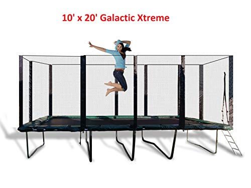 Best Trampoline USA - Galactic Xtreme Gymnastic Outdoor Trampoline with Net Enclosure - High Performance Commercial Grade I Life-time Warranty, Heavy Weight Capacity (10 X 20 Ft, 10X20 Rectangle)
