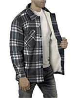 KL Apparel Mens Heavy Warm Fleece Sherpa Faux Fur Lumberjack Shirt/Jacket (Grey, M)
