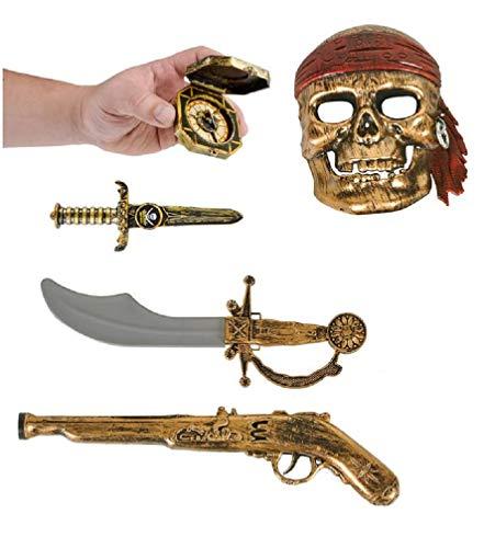 Kids Bronze Pirate Set - Mask - Gun - Sword - Dagger - Compass (5 Pcs) Halloween Costume. Plastic.