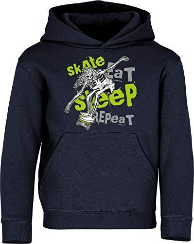 Sudadera con Capucha: Skate Eat Sleep Repeat - Skater Pulóver - Regalo Niños Niño Niña Skateboard Monopatín Mono Patinar Cumpleaños Navidad Sweater Hoodie Jersey Outdoor Deporte Sport (Azul 164)