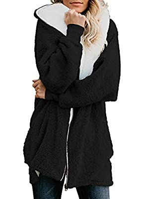 Yanekop Women Oversized Sherpa Hoodie Fuzzy Fleece Jacket Zip Up Outerwear Coat with Pockets(Black,L)