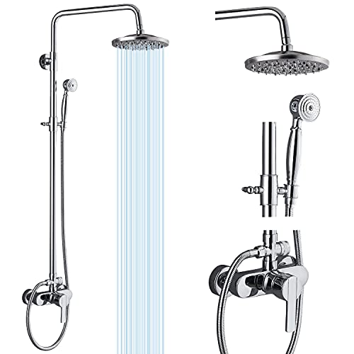 Airuida Shower Fixture Brass Exposed Pipe Shower System Chrome Polish...
