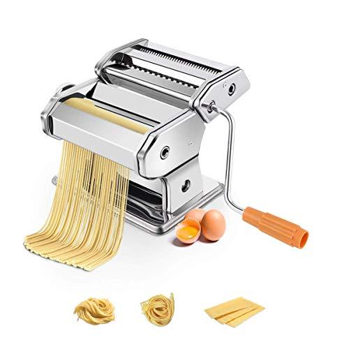 COSTWAY Nudelmaschine manuell, Pastamaschine mit 2 Nudelwalzen, Pastamaker 6 Nudelstärke, Nudeln Spaghetti Pasta Maker inkl. eine Tischklemme, für Spaghetti, Fettuccine und Lasagne