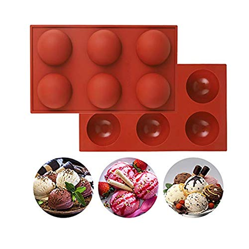 2 Pack Medium Semi Sphere Silicone Mold, Baking Mold for Making Hot Chocolate Bomb, Cake, Jelly, Dome Mousse