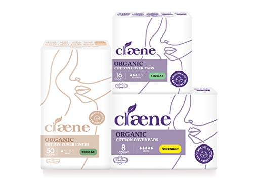 Claene Organic Cotton Cover Pads, Menstrual Pads for Women, Unscented, Breathable, Natural Sanitary Napkins with Wings Regular Pad & Overnight Pad & Regular Pantyliner (Total 74 Count)