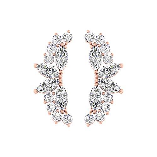 Pendientes de cartílago de diamante con certificado SGL de 0,36 quilates, HI-SI Diamond Cluster...