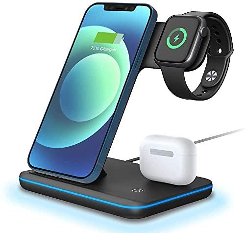 LYB Estación de carga inalámbrica, 15 W Qi Fast 3 en 1 cargador compatible con iPhone Samsung-Negro