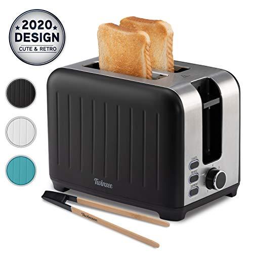 Toaster mit Breitem Schlitz 3 in 1 - Schwarz Matt Edelstahl, Retro-Toaster - Gratis Bambus-Zange - 7 Bräunungsstufen - Brötchenaufsatz und Krümelschublade